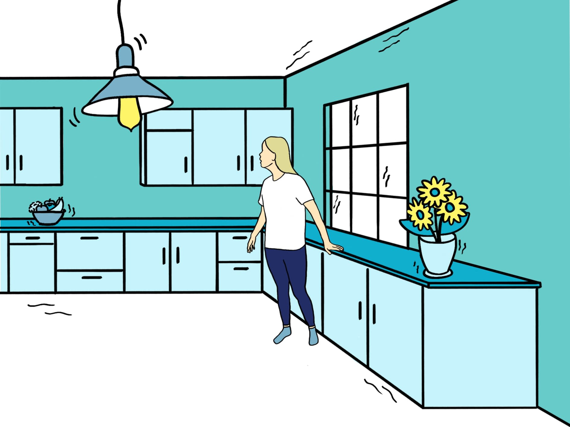 Light 4 Generally noticed indoors, but not outside, as a moderate vibration or jolt. Light sleepers may be awakened. Walls may creak, and glassware, crockery, doors or windows rattle.